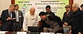 Narendra Modi launching the online Pre-Registration to avail LED bulbs for Household, in New Delhi. The Lt. Governor Delhi, Shri Najeeb Jung and the Minister of State (Independent Charge) for Power.jpg