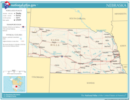 Kaart van State of Nebraska