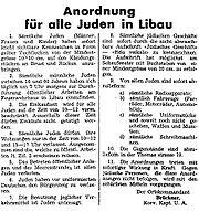 Nazi orders against Jews Liepaja 1941 01