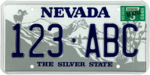 Nevada sample license plate, 1984–2000 series with May 1992 sticker.png