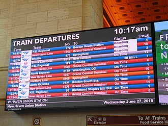 Union Station (New Haven) - The replacement board.