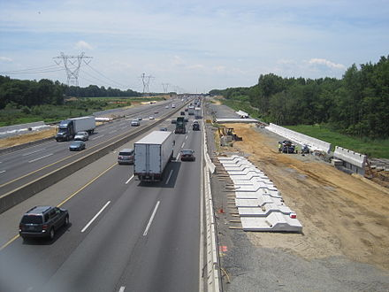Construction of the new lanes as seen in Robbinsville Township in July 2012 New Jersey Turnpike widening Robbinsville.JPG