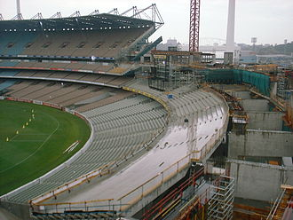 The Ponsford Stand undergoing reconstruction in 2003. New Ponsford Stand Construction.jpg