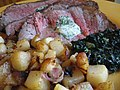 New York strip steak with Beurre Maitre d'Hotel, creamed spinach and potatoes.jpg