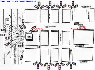 North Hollywood shootout - Map of the area around the Bank of America and events during the shoot-out.