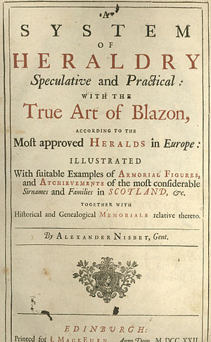 Alexander Nisbet - Title page of A System of Heraldry.