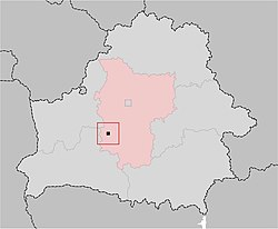 Location of Nesvizh, shown within the Minsk Voblast