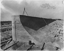 An image of the Galveston Seawall under construction