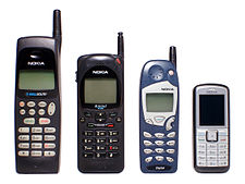Progression of size in Nokia mobile phones.