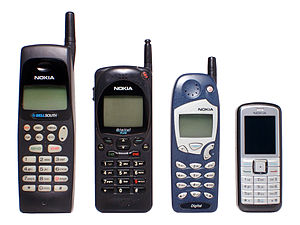 History of Nokia - Reduction in size of Nokia mobile phones. Left to right: Nokia 638 (1996; 19.06 cm height), Nokia 2160 EFR (1996; 16.42 cm), Nokia 5160 (1998; 14.84 cm), Nokia 6070 (2006; 10.5 cm)
