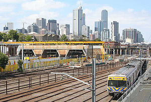 North Melbourne railway station - Construction work on the new southern concourse in February 2008