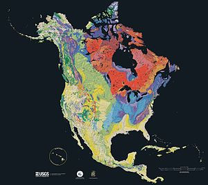 Geography of North America - Age of the bedrock underlying North America, from red (oldest) to blue, green, yellow (newest).