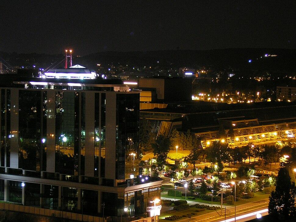 Novi Beograd - Sava Centar and a business building