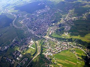 Podhale - Bird's-eye view of Nowy Targ,  the capital of the region