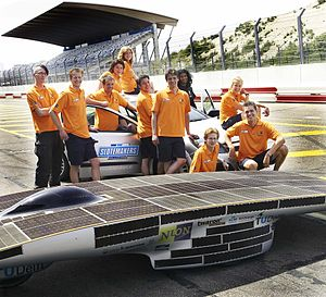 Alternative fuel vehicle - Nuna team at a racecourse.