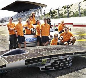 Solar car racing - Dutch Nuna 3 team during testing in 2005.