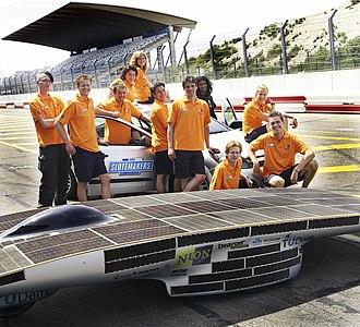Alternative fuel vehicle - Nuna team at a racecourse.