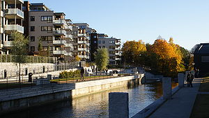 Nydalen - New apartment blocks at the redeveloped banks of Akerselva