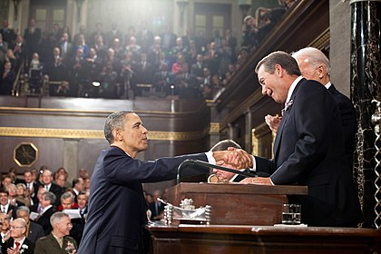 U.S. President is greeted by Speaker Boehner