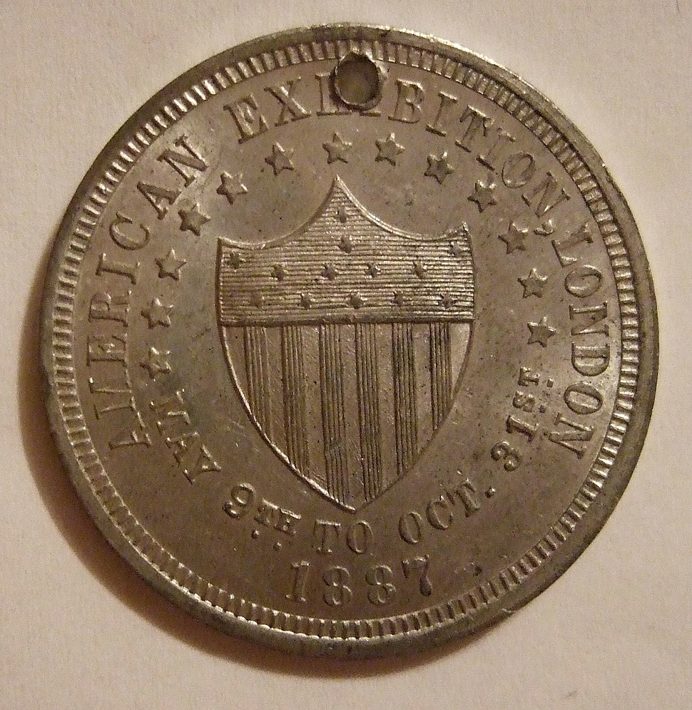 Obverse Of Token From 1887 American Exhibition In London England