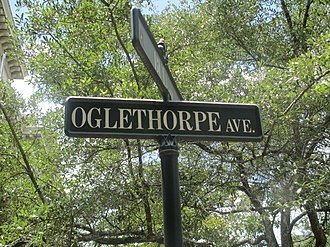 James Oglethorpe - Image: Oglethorpe Avenue sign, Savannah, GA IMG 4705