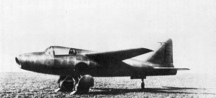 Heinkel He 178, in August 1939 the world's first aircraft to fly purely on turbojet power Ohain USAF He 178 page61.jpg