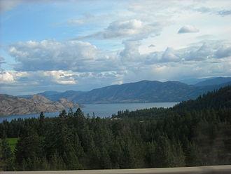 British Columbia Highway 97C - Okanagan Lake from Highway 97C near Trepanier.