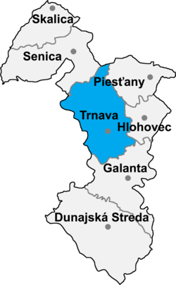 Locatisation du district de Trnava dans la région de Trnava (carte interactive)