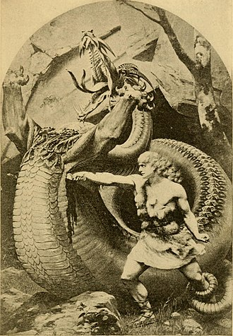 Sigurd - Sigurd slaying Fafnir, illustration in Old Norse stories, 1900