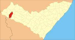 Location of Olho d'Água do Casado in Alagoas