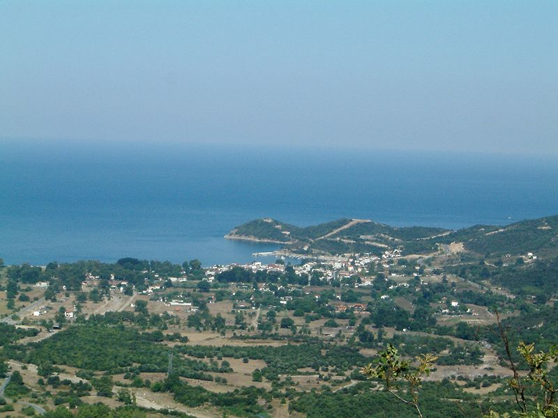 File:Olymbiada, Chalkidiki, Greece - View from Northwest with ancient Stagira.jpg