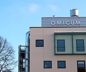 "Omics - ""Omicum"": Building of the Estonian Biocentre which houses the Estonian Genome Centre and Institute of Molecular and Cell Biology at the University of Tartu in Tartu, Estonia."