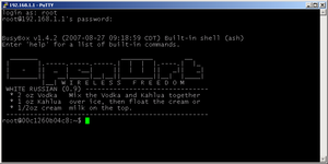 Secure Shell - Logging into OpenWrt via SSH using PuTTY running on Windows.