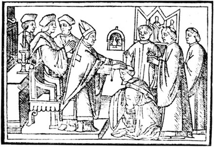 Ordination of a Deacon, a.d. 1520 Bishop gives the vestments of that period. Ordination of a deacon 1520.jpg
