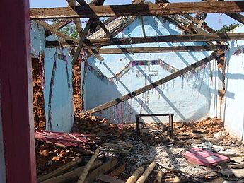 A church that has been burnt down during the 2008 religious violence in Odisha Orissa violence destroyedbuilding.jpg