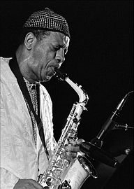 Black and white photograph of a saxophonist