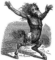 Gravură care descrie o creatură cu capul unui cal, bustul unui bărbat și picioarele și coada unui ponei.