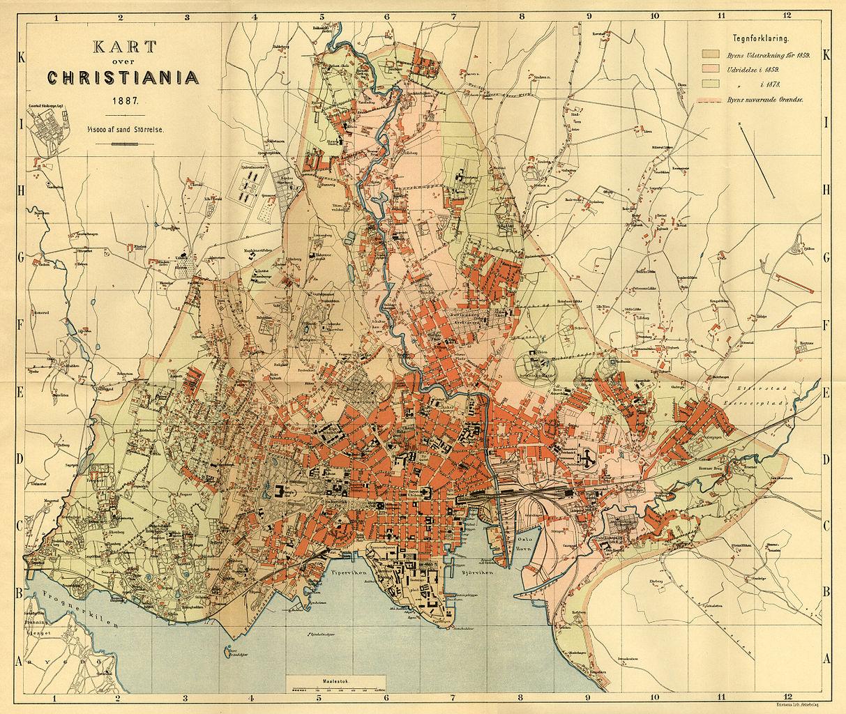 oslo byarkiv kart Fil:Oslo kommune byarkivet, oversiktskart 1887 300 hele.  oslo byarkiv kart