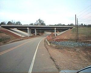 Arkansas Highway 160 - Highway 160 crosses under Interstate 49 near Doddridge