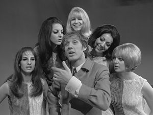Pan's People - 1968: Pan's People (from left, Dee Dee Wilde, Louise Clarke, Babs Lord, Ruth Pearson and Andi Rutherford) accompanying Herman van Veen