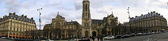 Saint-Germain l'Auxerrois - Panorama of the church of Saint-Germain l'Auxerrois and the Place du Louvre.