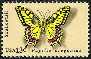 Papilio oregonius - Oregon swallowtail Commemorative Stamp, issued in June, 1977