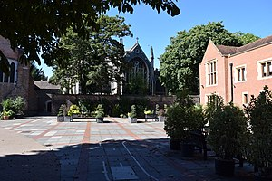 Old Palace School - School grounds, with Croydon Minster in the background