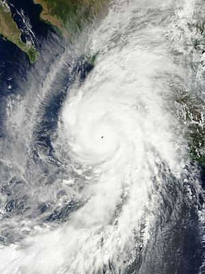 23 October: Hurricane Patricia is the strongest hurricane ever recorded in the Western hemisphere. Patricia 2015-10-23 1730Z Worldview.jpg