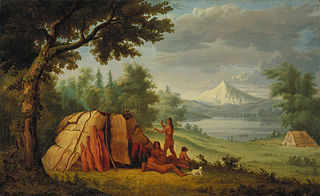 Chinook Indians in Front of Mount Hood