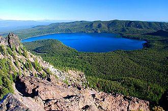 Paulina Lake - View of Paulina Lake from Paulina Peak