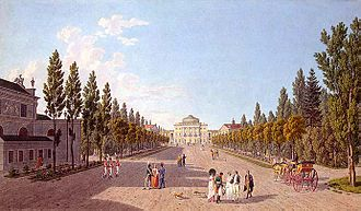 Pavlovsk, Saint Petersburg - View of the palace and park in 1808