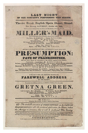 Richard Brinsley Peake - Playbill from 1823 advertising Presumption; or, the Fate of Frankenstein