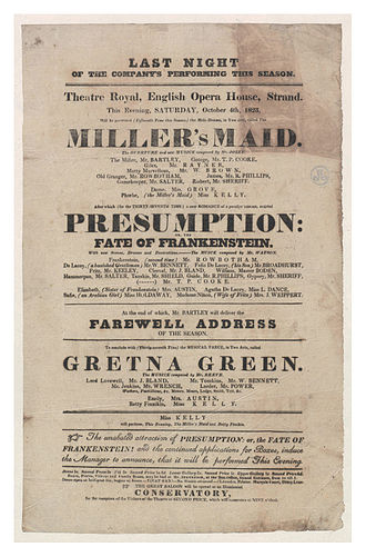 Richard Brinsley Peake - Playbill from 1823 advertising Presumption; or, the Fate of Frankenstein