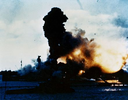 Explosion of the battleship USS Arizona at Pearl Harbor. Pearlharborcolork13513.jpg